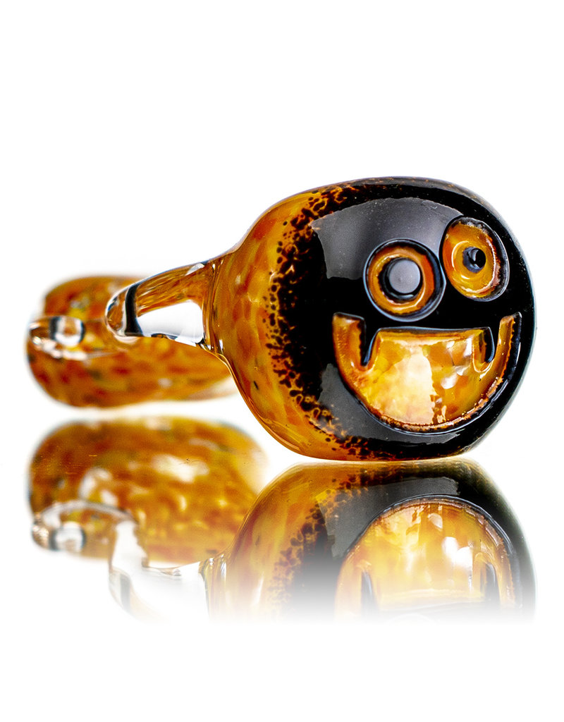 """Witch DR 4"""" Doctober HH Black Frit over UV Accented Orange/Yellow Pumpkin Pipe"""