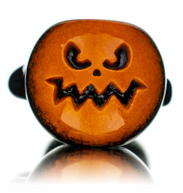 """Witch DR 5"""" October A Orange Frit over Black Pumpkin Pipe by Witch DR"""