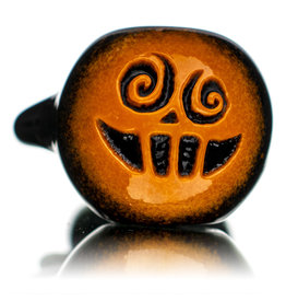 """Witch DR 5"""" October B Orange Frit over Black Pumpkin Pipe by Witch DR"""