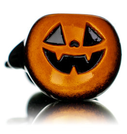 """Witch DR 5"""" October D Orange Frit over Black Pumpkin Pipe by Witch DR"""