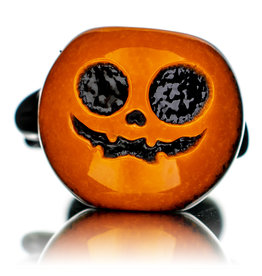 """Witch DR 5"""" October F Orange Frit over Black Pumpkin Pipe by Witch DR"""
