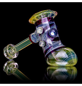 """Witch DR 5"""" Fume & Gold Amethyst Hammer Pipe (FFG) by Witch DR Studio"""