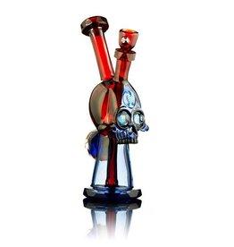 AKM SOLD AKM Pomegranate & Brilliant Blue Split Personality Skull Ripper Dab Rig