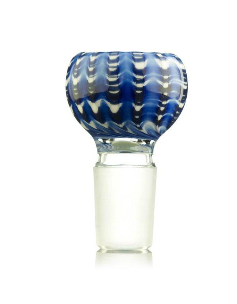Kevin Engelmann 18mm (M) Bong Bowl Bubble Slide BLUE Wrap&Rake on WHITE Glass by Witch DR