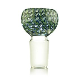 Kevin Engelmann 18mm Bong Bowl Bubble Slide LIGHT GREEN Ribbon Coil over Clear Glass by Witch DR