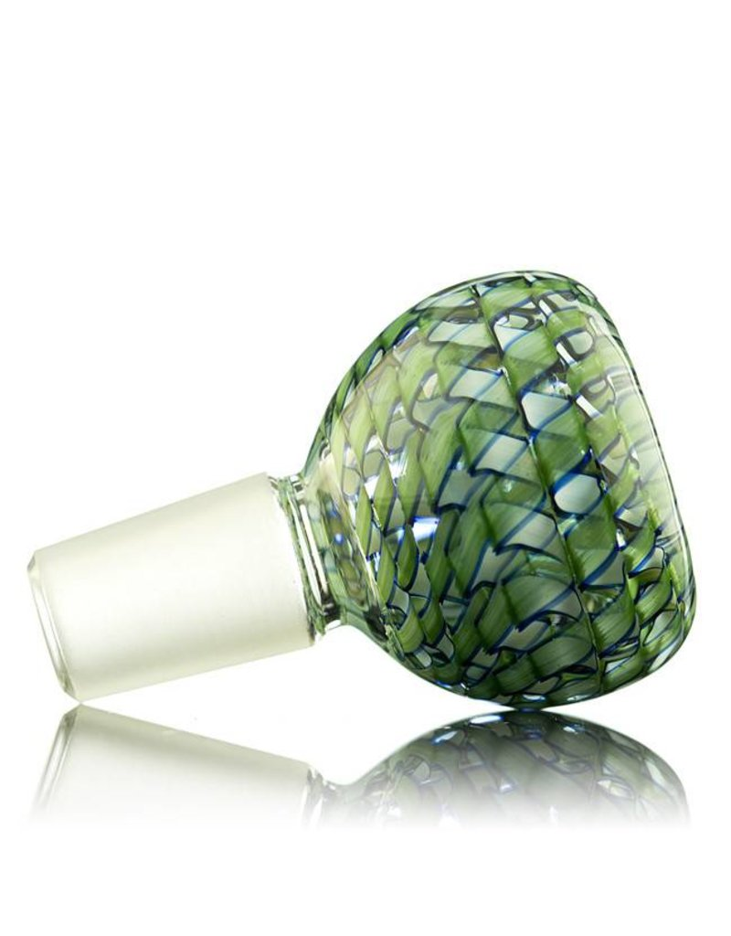 Witch DR 14mm (M) Bong Bowl Bubble Slide LIGHT GREEN Ribbon Coil over Clear Glass by Witch DR