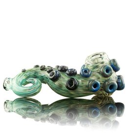 Tab Glass SOLD Tab Glass Green / Blue Tentacle Spoon Glass Enthusiast