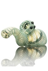 Witch DR Witch DR Frosted Blue Wrap & Rake Laydown Bubbler Pipe by Treso Queso