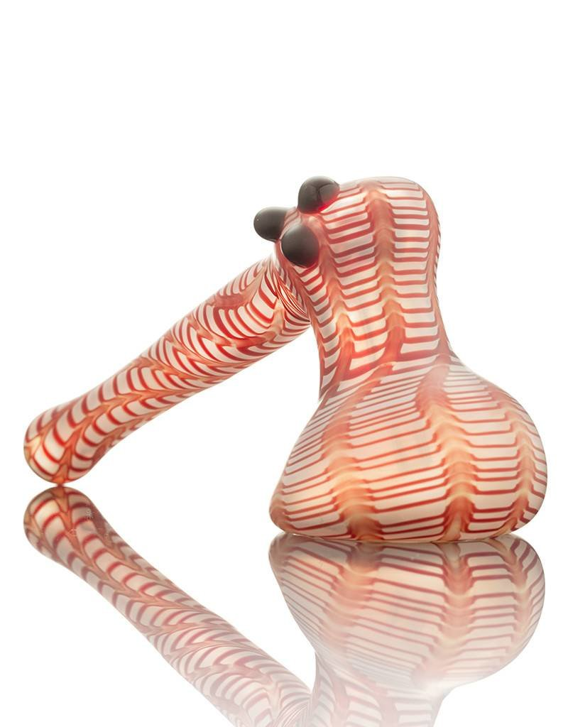 Witch DR Witch DR Frosted Red Wrap & Rake Hammer Bubbler Pipe by Treso Queso