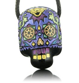 Joei Masataka SOLD Joei Masataka Purple Sugar Skull Glass Pendant