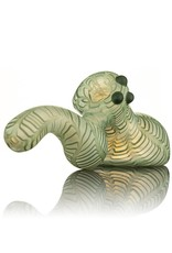 Witch DR Witch DR Frosted Green Wrap & Rake Laydown Bubbler Pipe by Treso Queso