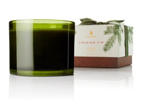 THYMES frasier fir green glass 3 wick candle