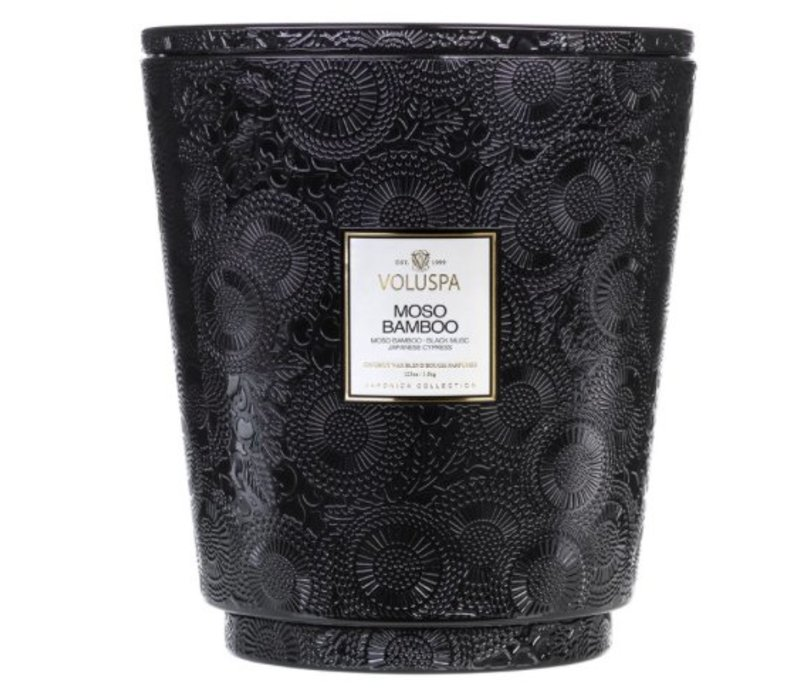 Voluspa - Moso Bamboo 123 oz Hearth Candle with Lid/Tray - 5 wick