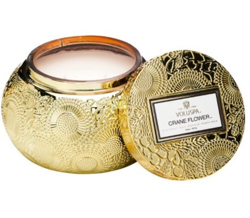 Voluspa - Crane Flower Embossed Bowl - 2 wick