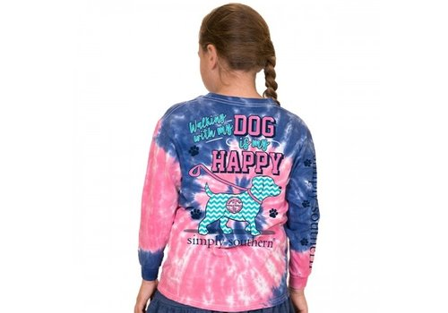 SIMPLY SOUTHERN Walking With My Dog- Youth Long-Sleeve