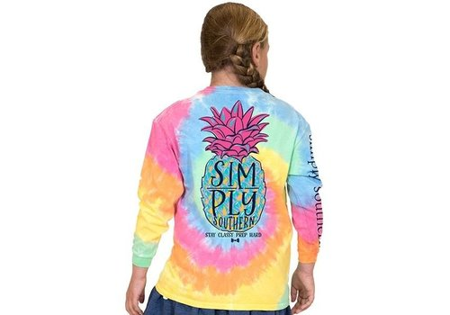 SIMPLY SOUTHERN Pineapple TieDye- Youth Long-Sleeve