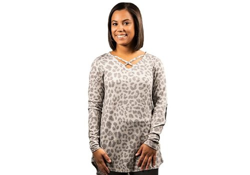 SIMPLY SOUTHERN Leopard CrossTop- Long-Sleeve