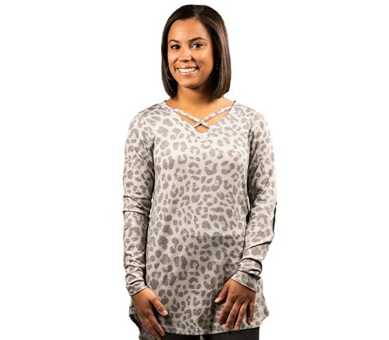 Leopard Cross-Top- Long-Sleeve