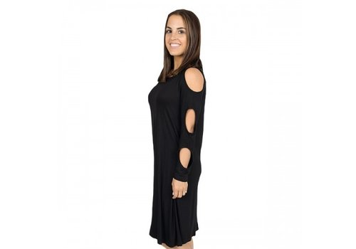 "SIMPLY SOUTHERN The ""Cold Shoulder"" Dress- Black"