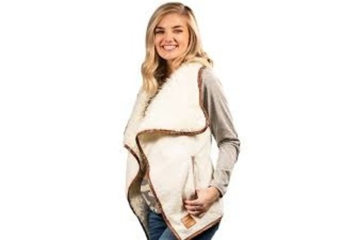 SIMPLY SOUTHERN Sherpa Vest- Cream