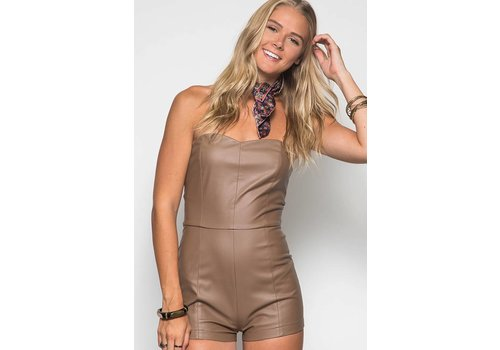 Sweetheart Strapless Faux Leather Romper