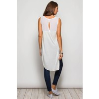 White Sleeveless Tunic Top  with Side Split