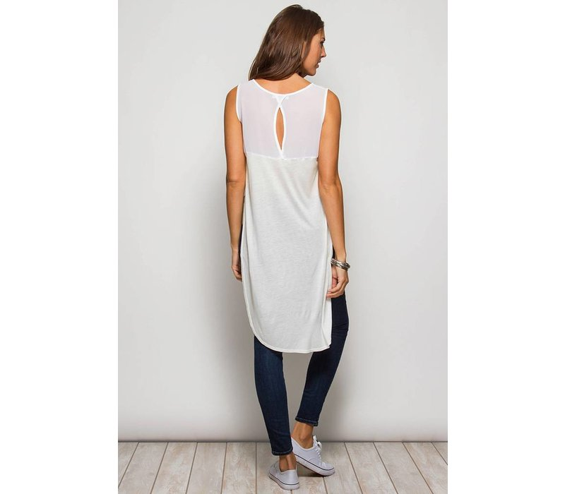 White Sleeveless Tunic Top with Side Split - Firefly   Lilies