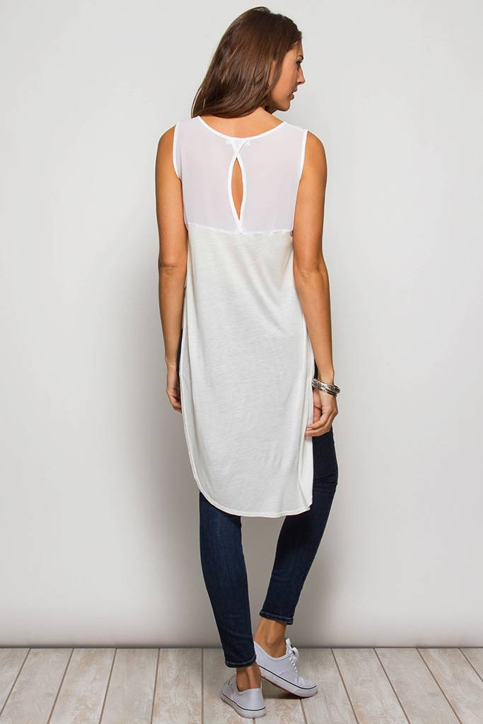 6ae45f2520191 White Sleeveless Tunic Top with Side Split. White Sleeveless Tunic Top with Side  Split. White Sleeveless Tunic Top with Side Split