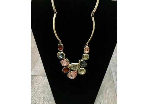 JESSIE Multi Gem Necklace/Earring Set