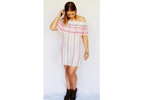 Red/White Off the Shoulder Dress