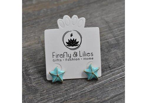 Aqua/Gold Starfish Earrings
