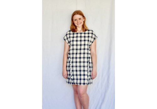 Plaid Shift Dress with Pockets