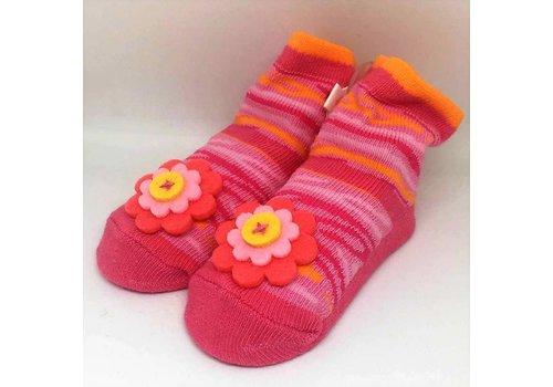 Baby Dumpling hot pink zebra socks