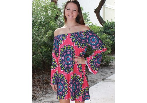 SIMPLY SOUTHERN Tropical Aly Scoop Neck Dress