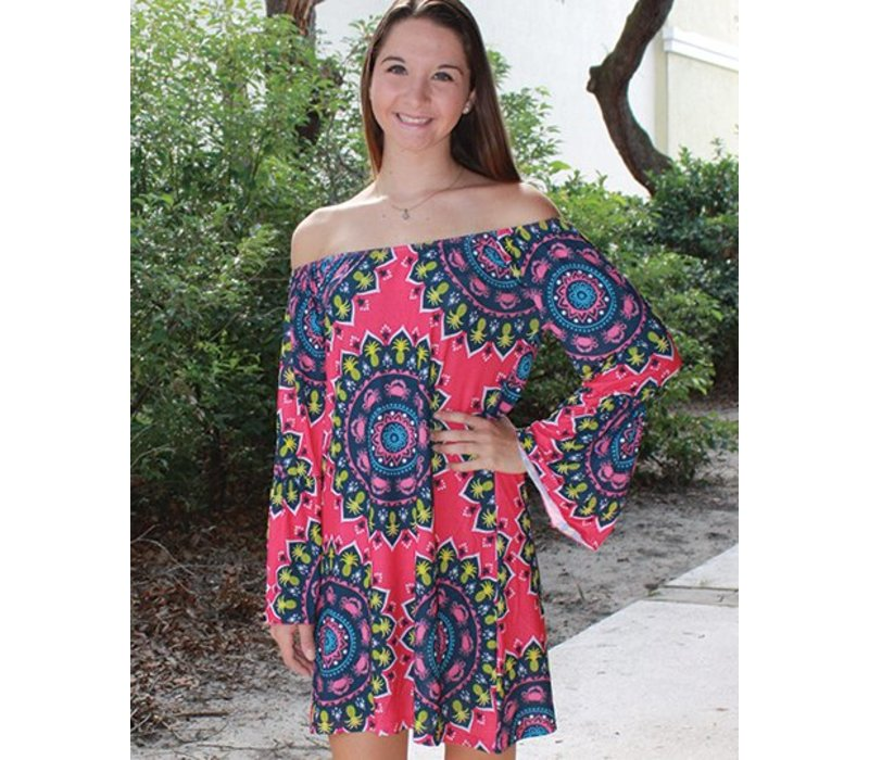 Tropical Aly Scoop Neck Dress