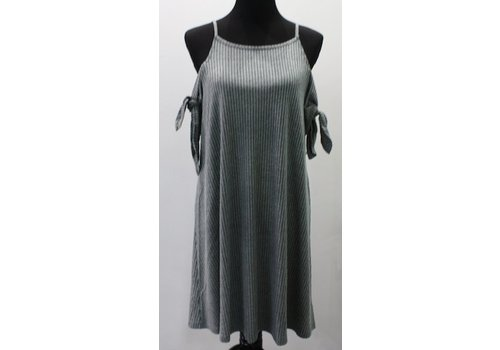 short sleever cold shoulder dress slate