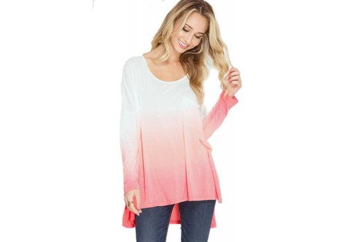 long sleeve ombre top mauve