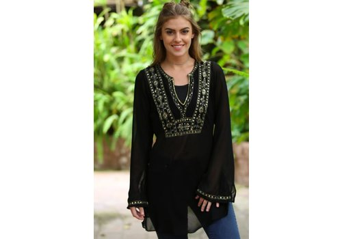 Embellished Sheer Black Tunic