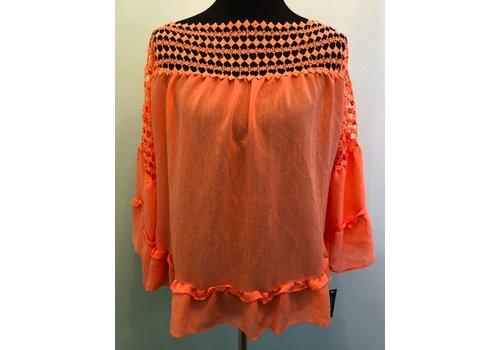 Ruffle Boho Shirt with Lace Detail