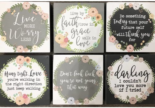 Inspirational Wood Block Signs - Floral - 6 styles to choose from