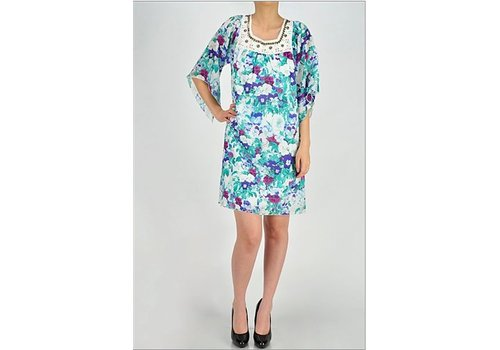 Summer Floral Dress with Embellishments