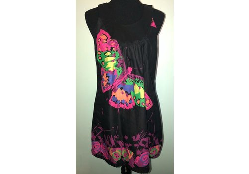 Black Summer Dress with Butterfly Pattern