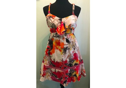 Colorful Summer Dress with Ruffle Top