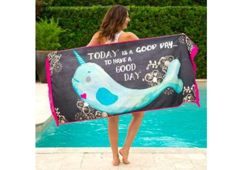"natural life ""Today is a good day to have a good day"" Narwhal Towel"