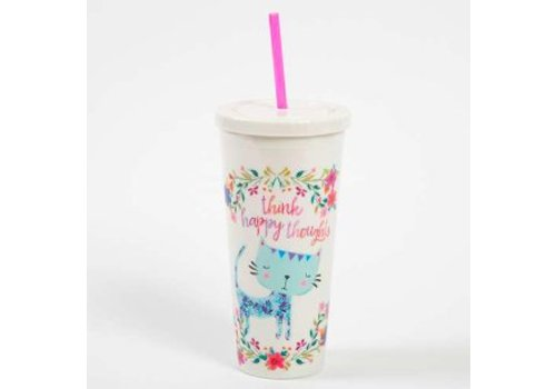 "natural life ""Think Happy Thoughts"" Cat and Flower Design Travel Cup"