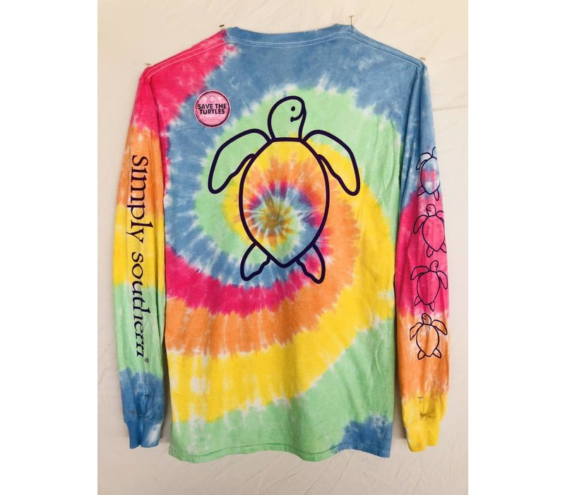 Youth Simply Southern Long Sleeved Save the Sea Turtles -Tie Dye