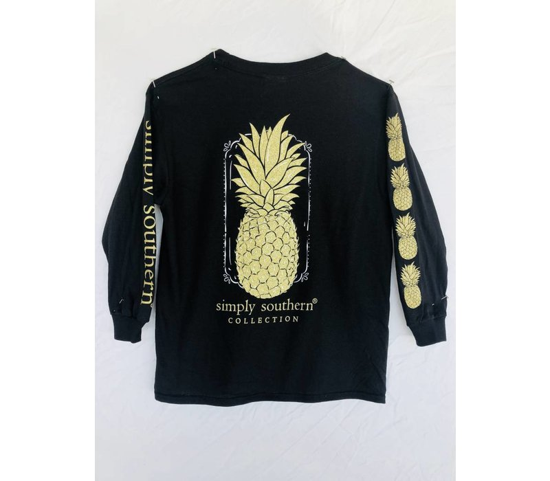 Simply Southern Long Sleeved Black with Gold Pineapple Tee