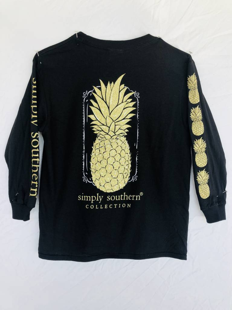 5b00b6cb65f3 Simply Southern Long Sleeved Black with Gold Pineapple Tee - Firefly ...