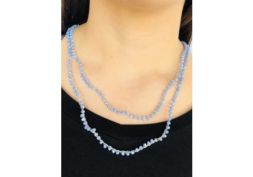 small blue bead long necklace