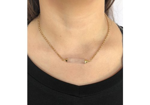 gold with blush crystal choker necklace